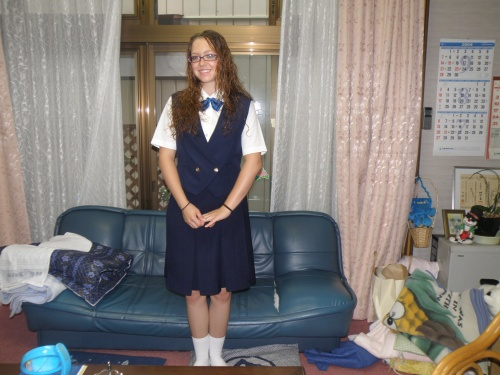 My first day of school! I was so nervous. The (way too short) white socks are worn for special events, such as assemblies and etc.