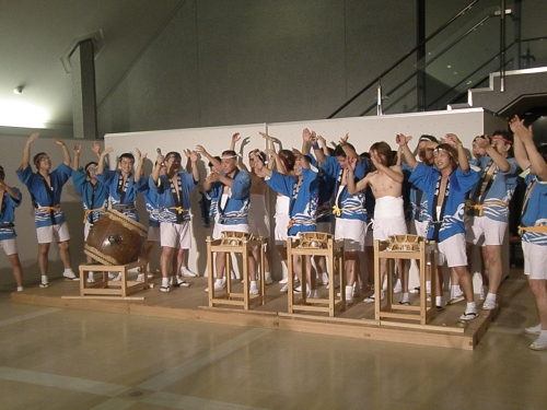 Drummers at Obon festival in Miharu, my town in Japan. The festival was moved inside because of rain.