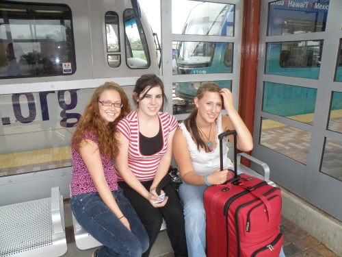 Two of my best friends, Angelica and Gabby, waiting for the train to the airport in St Paul.