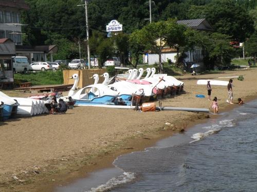 Swan boats at Lake Inawashiro