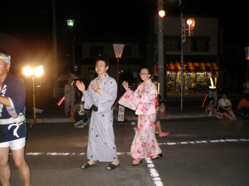 Learning how to dance at the Obon festival