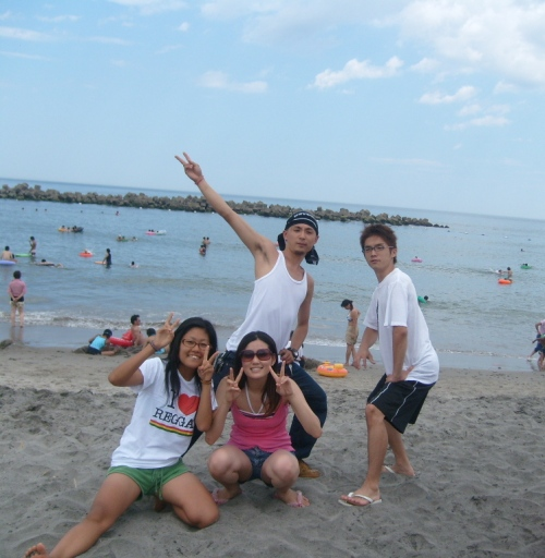 Friends at Iwaki beach, Fukushima-ken