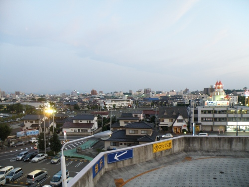 From the roof of a huge shopping center in Koriyama