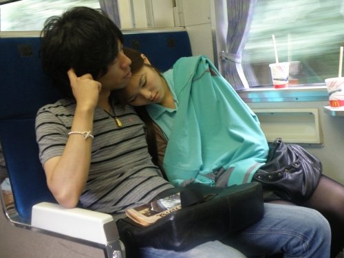 Cute couple on the train.