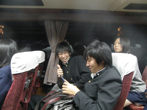 Katsunori and Kohei on the bus back to Miharu. Aren't they just adorable?!