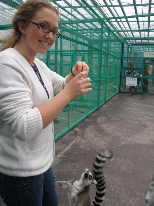 First picture...and that lemur really wants some apples! After this picture was taken, it climbed my leg...haha.