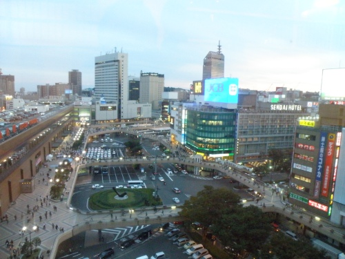 The view from the 7th(?) floor of Sendai Station.
