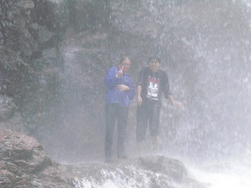 Under the spray of the waterfall...it was so incredibly cold and really painful!