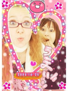 October 25, 2008 at Jusco in Koriyama with Kimie. We rode the ferris wheel then did purikura. Kimie had never been on a ferris wheel before!